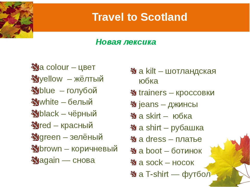 Travel to Scotland Новая лексика a colour – цвет yellow – жёлтый blue – голуб...
