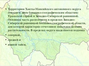 Территорию Ханты-Мансийского автономного округа относят к двум ботанико-геогр
