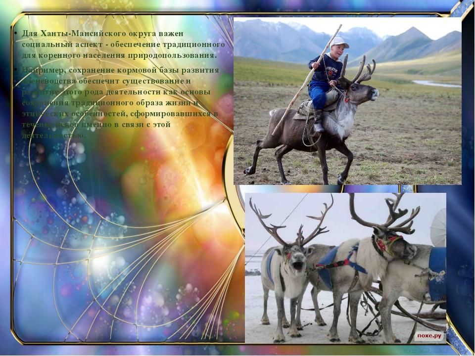 Для Ханты-Мансийского округа важен социальный аспект - обеспечение традицион...