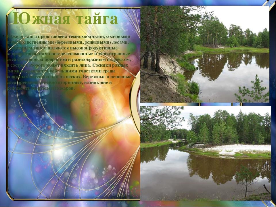 Южная тайга Южная тайга представлена темнохвойными, сосновыми и мелколиственн...