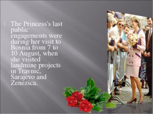 The Princess's last public engagements were during her visit to Bosnia from 7