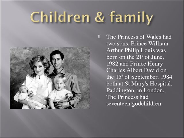The Princess of Wales had two sons. Prince William Arthur Philip Louis was bo...