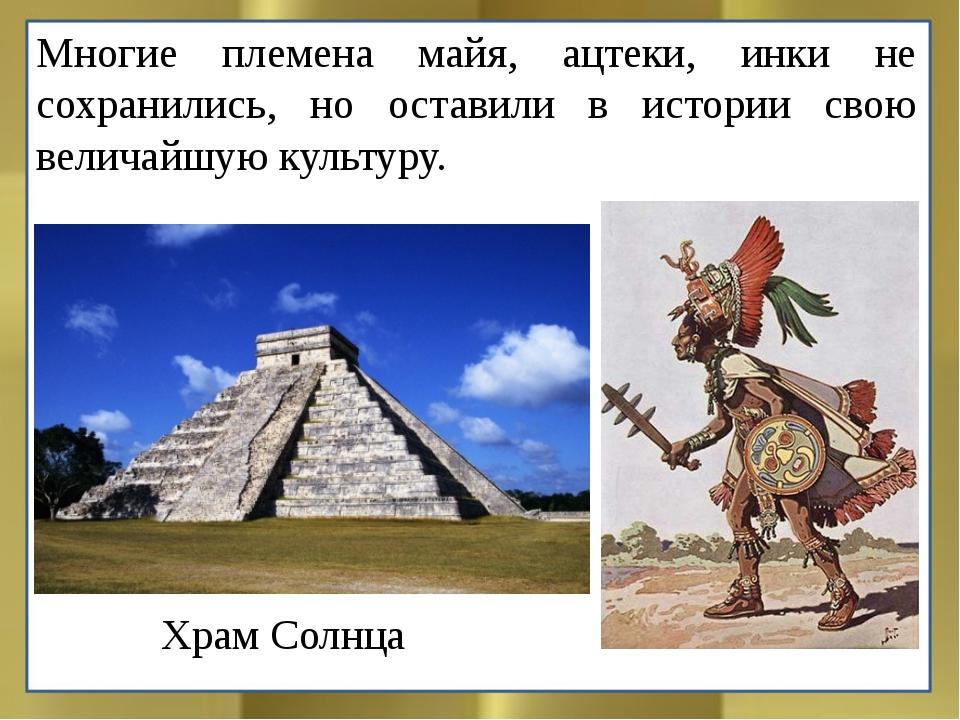 Многие племена майя, ацтеки, инки не сохранились, но оставили в истории свою...