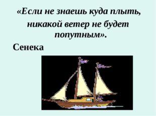 «Если не знаешь куда плыть, никакой ветер не будет попутным». Сенека