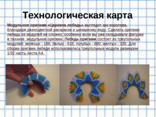 Технологическая карта Модульное оригами «Царевна лебедь»выглядит как королев