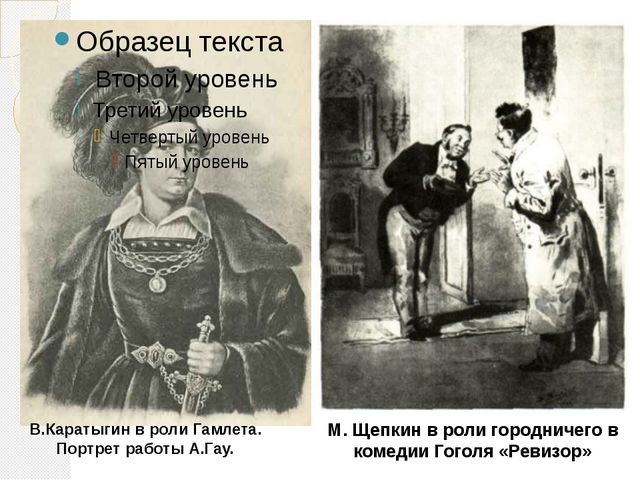 В.Каратыгин в роли Гамлета. Портрет работы А.Гау. М. Щепкин в роли городничег...