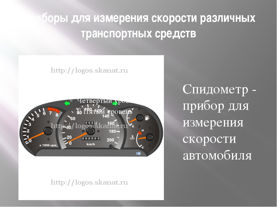Приборы для измерения скорости различных транспортных средств Спидометр - при...