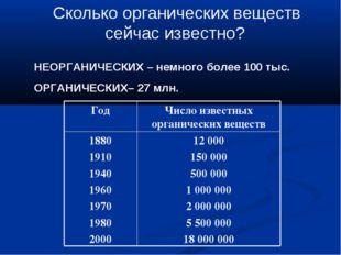 НЕОРГАНИЧЕСКИХ – немного более 100 тыс. ОРГАНИЧЕСКИХ– 27 млн. Сколько органи