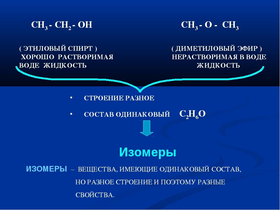 СН3 - СН2 - ОН СН3 - О - СН3 ( ЭТИЛОВЫЙ СПИРТ ) ( ДИМЕТИЛОВЫЙ ЭФИР ) ХОРОШО...