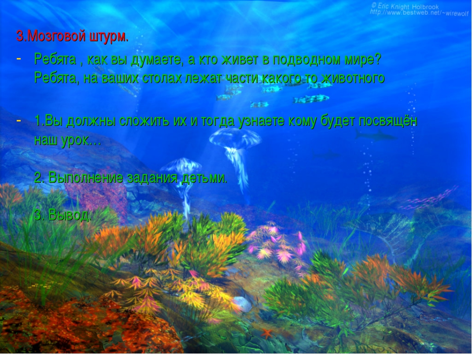 3.Мозговой штурм. Ребята , как вы думаете, а кто живет в подводном мире? Ре...