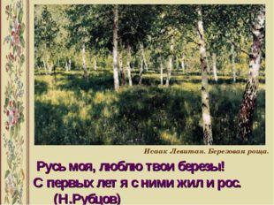 Русь моя, люблю твои березы! С первых лет я с ними жил и рос. (Н.Рубцов) Иса