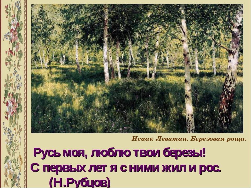 Русь моя, люблю твои березы! С первых лет я с ними жил и рос. (Н.Рубцов) Иса...