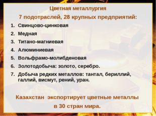 Цветная металлургия 7 подотраслей, 28 крупных предприятий: Свинцово-цинковая