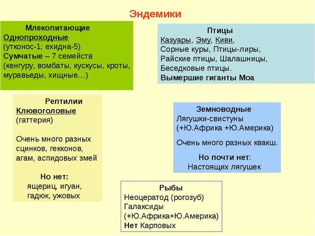 Млекопитающие Однопроходные (утконос-1; ехидна-5) Сумчатые – 7 семейств (кен...
