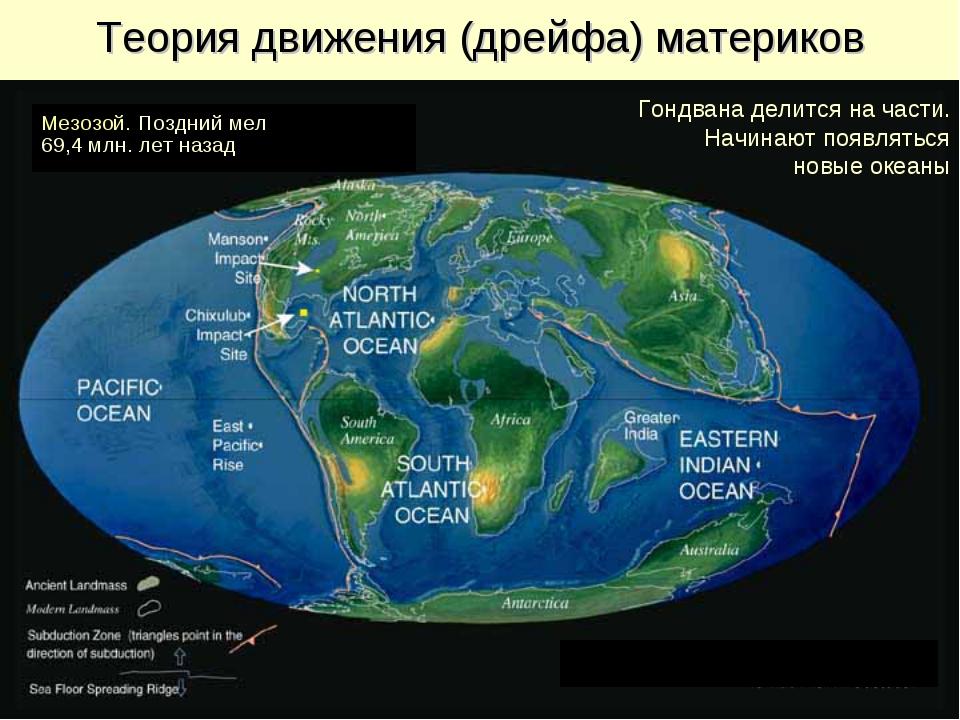 Теория движения (дрейфа) материков Мезозой. Поздний мел 69,4 млн. лет назад Г...