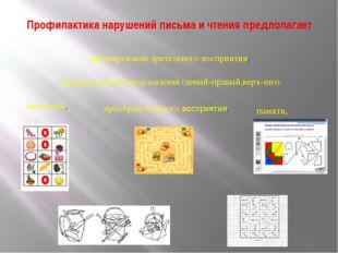 Профилактика нарушений письма и чтения предполагает формирование зрительного