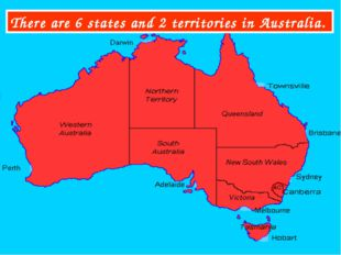 There are 6 states and 2 territories in Australia.