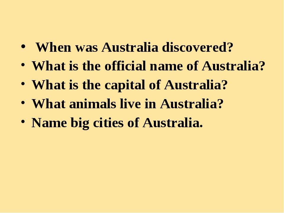 When was Australia discovered? What is the official name of Australia? What...