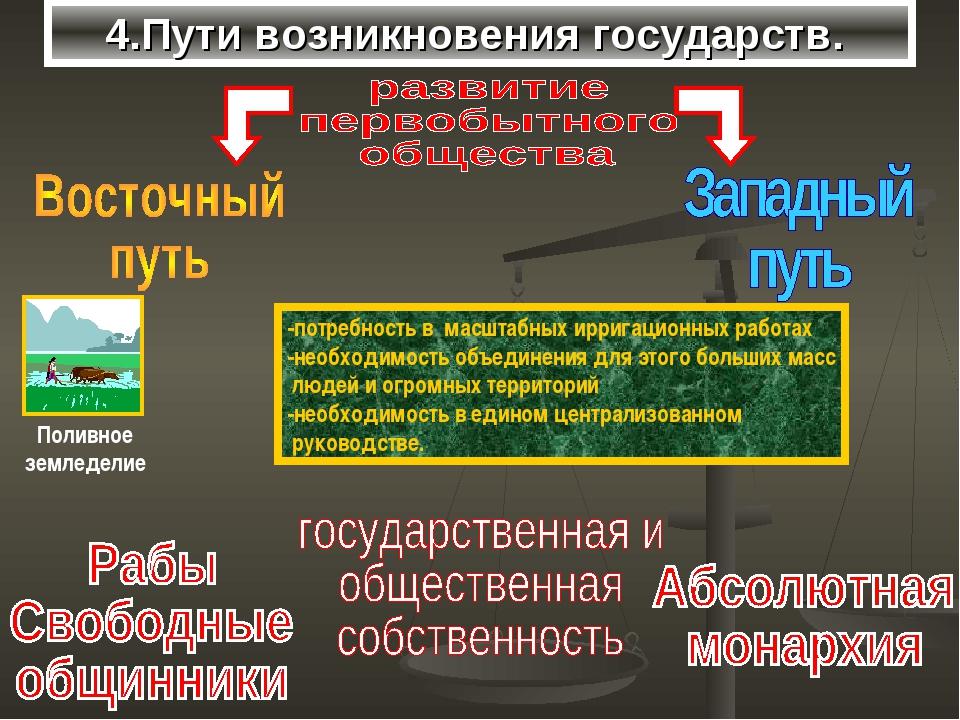 4.Пути возникновения государств. -потребность в масштабных ирригационных рабо...