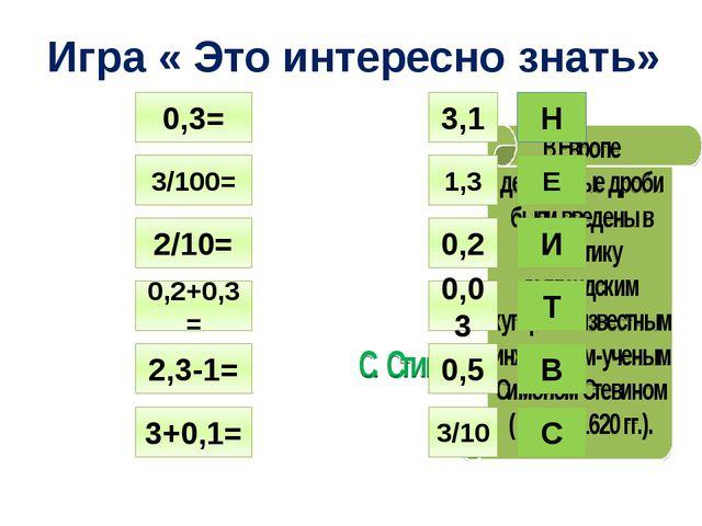 Игра « Это интересно знать» 0,3= 3/100= 2/10= 0,2+0,3= 2,3-1= 3+0,1= 3,1 1,3...
