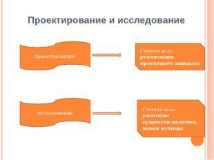 Проектирование и исследование проектирование исследование Главная цель: уясне