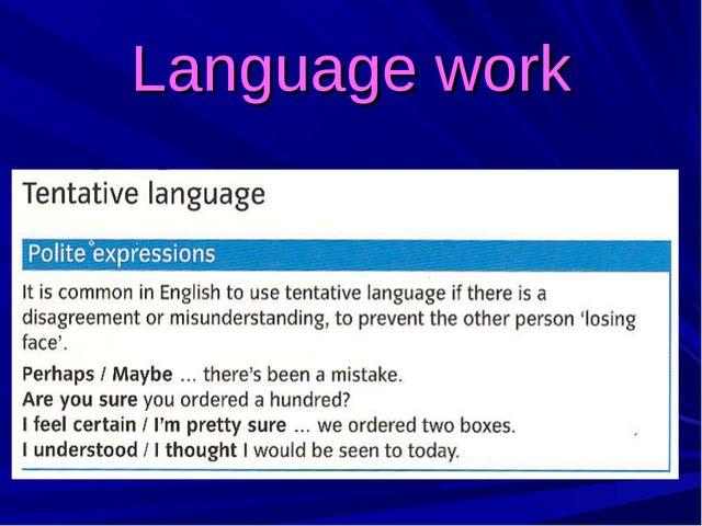 Language work