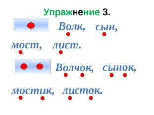 Упражнение 3. Волк, сын, мост, лист. Волчок, сынок, мостик, листок.