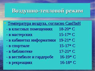 Воздушно-тепловой режим Температура воздуха, согласно СанПиН - в классных пом