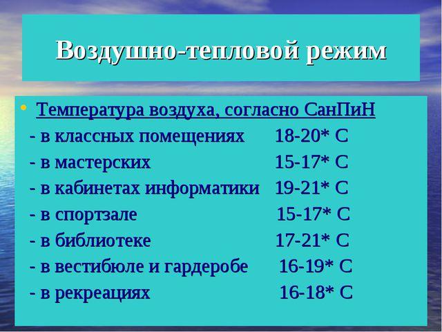 Воздушно-тепловой режим Температура воздуха, согласно СанПиН - в классных пом...