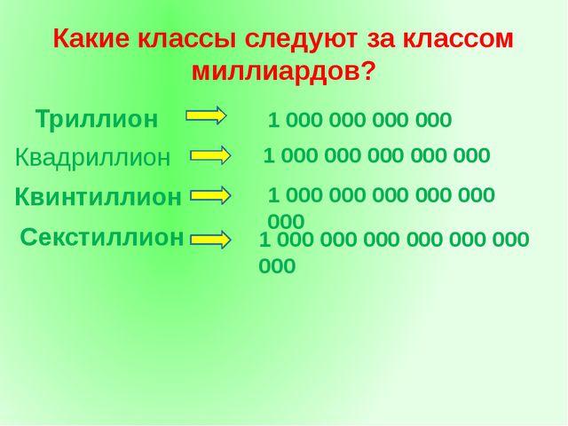 Какие классы следуют за классом миллиардов? Триллион 1 000 000 000 000 1 000...