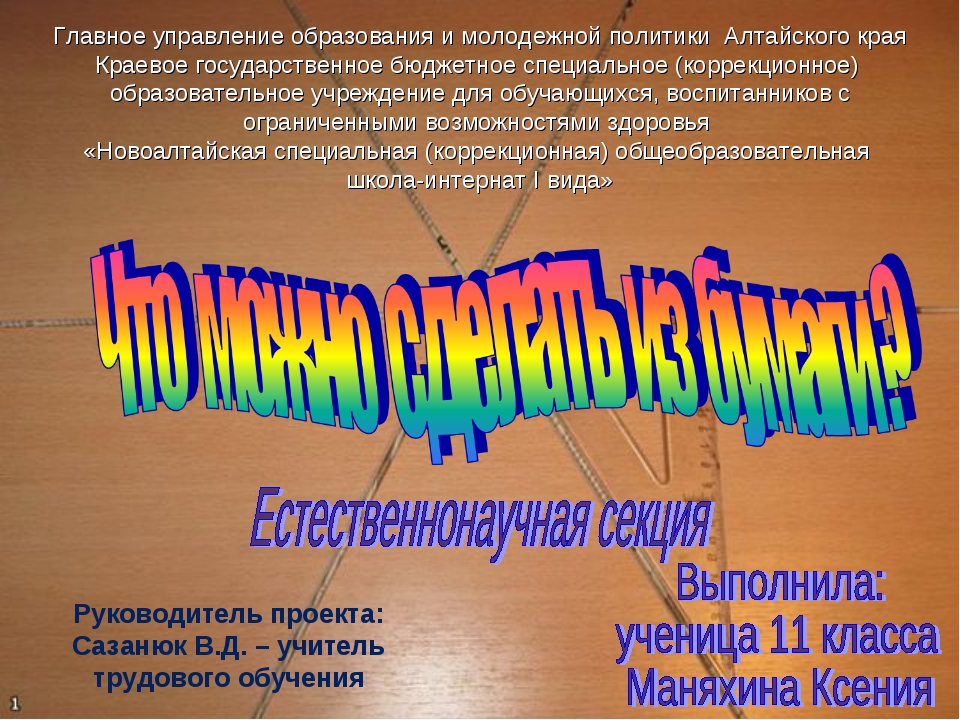 Руководитель проекта: Сазанюк В.Д. – учитель трудового обучения Главное управ...