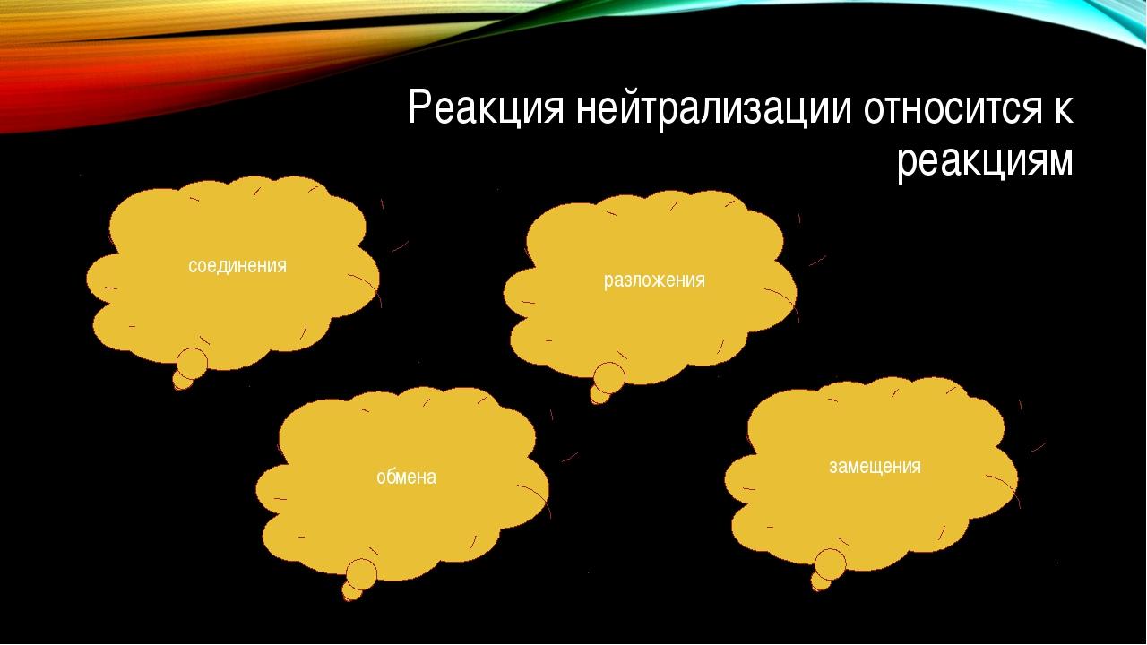 Реакция нейтрализации относится к реакциям соединения замещения обмена разлож...