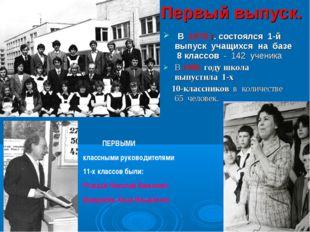 Первый выпуск. В 1979 г. состоялся 1-й выпуск учащихся на базе 8 классов - 14