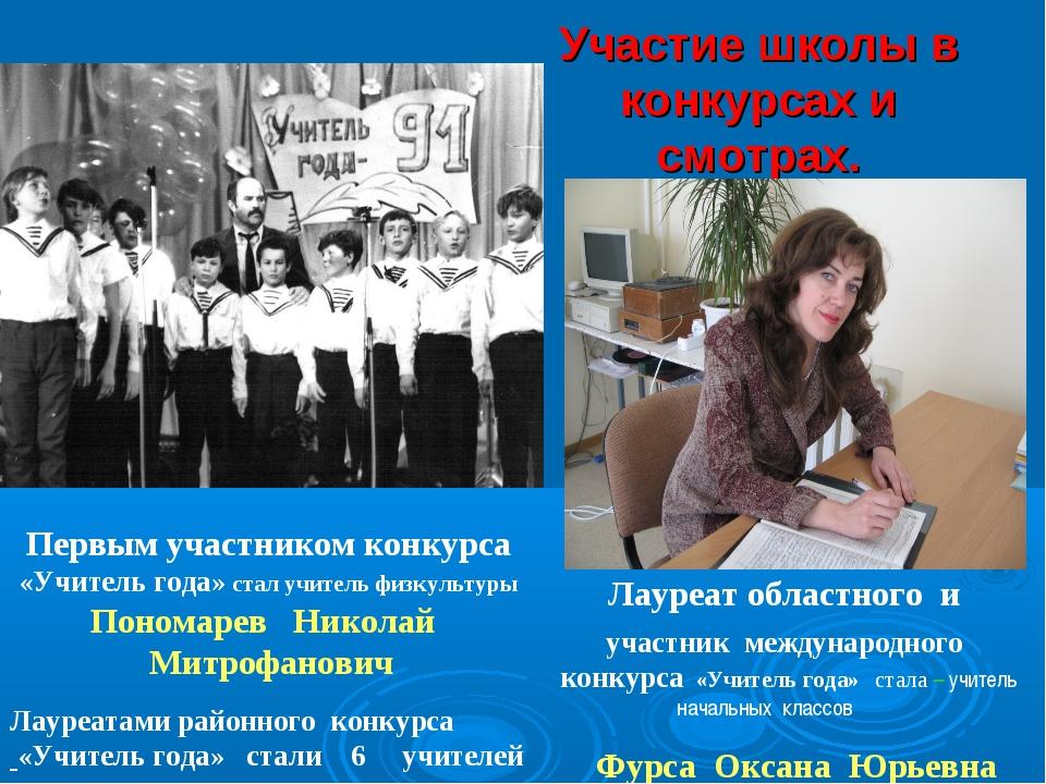 Участие школы в конкурсах и смотрах. Первым участником конкурса «Учитель года...