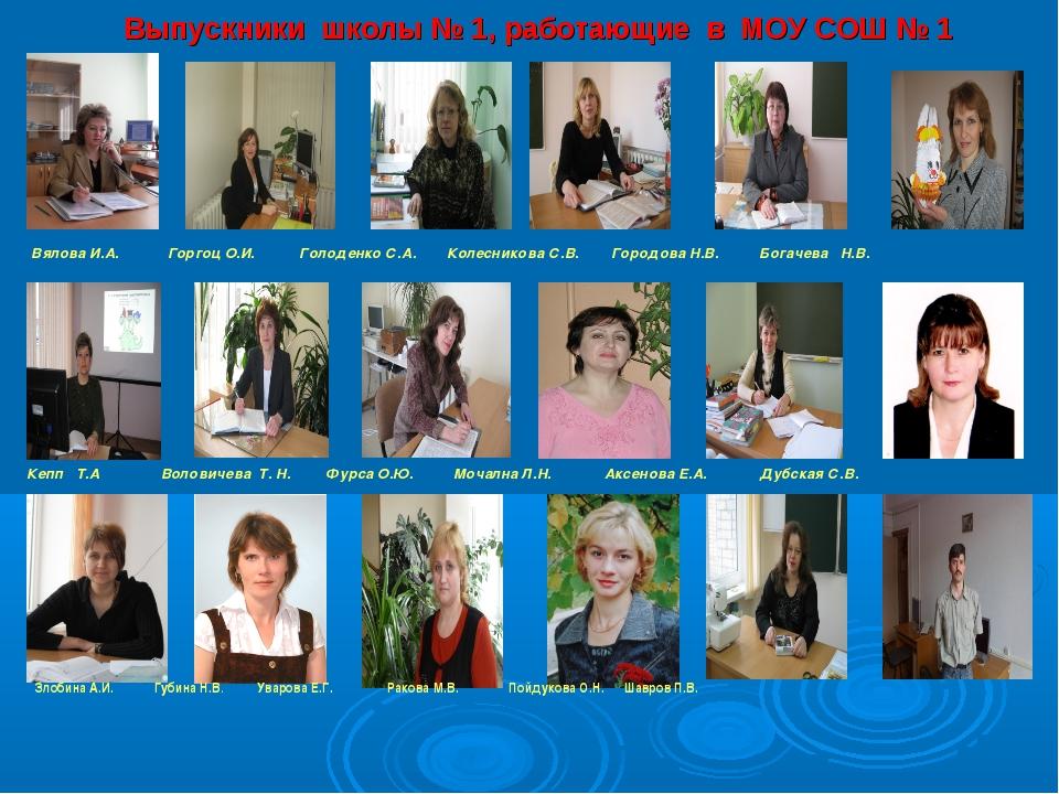 Выпускники школы № 1, работающие в МОУ СОШ № 1 . Вялова И.А. Горгоц О.И. Голо...