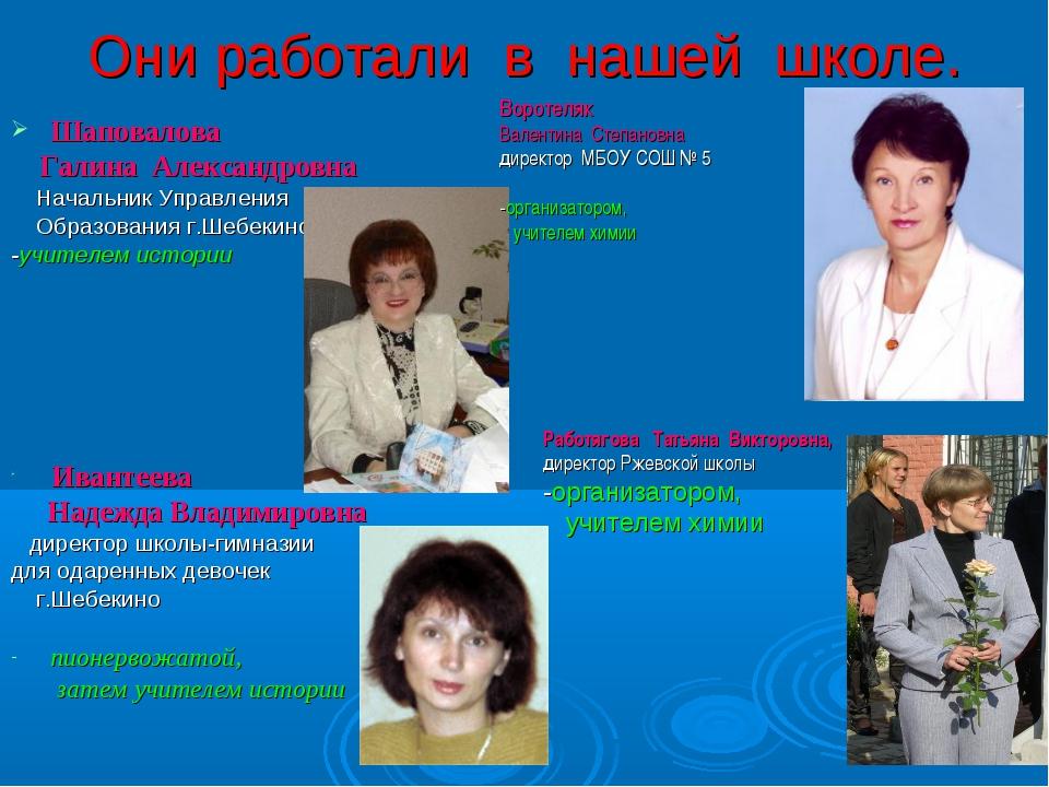 Они работали в нашей школе. Шаповалова Галина Александровна Начальник Управле...