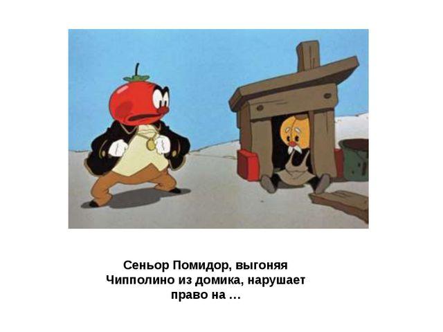 Сеньор Помидор, выгоняя Чипполино из домика, нарушает право на …