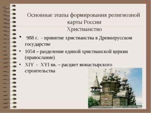 Основные этапы формирования религиозной карты России Христианство 988 г. - п