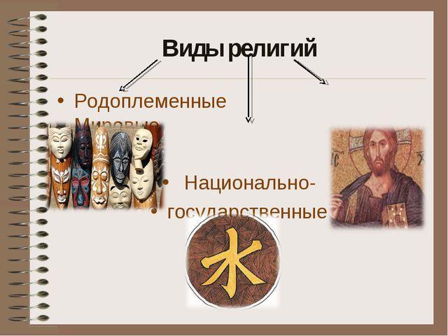 Виды религий Родоплеменные Мировые Национально- государственные