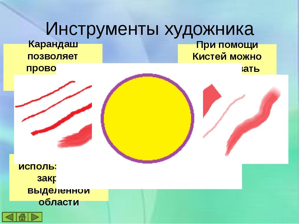 Графический редактор позволяет: Выбирать цвет и толщину линий рисунка; С помо...