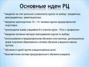введение за счет школьного компонента курсов по выбору: предметных, межпредме