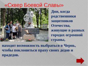 «Сквер Боевой Славы» Дни, когда родственники защитников Отечества, живущие в