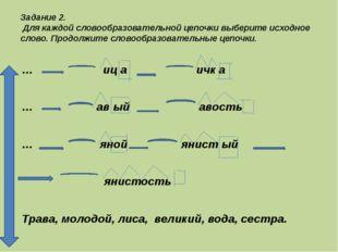 Задание 2. Для каждой словообразовательной цепочки выберите исходное слово. П