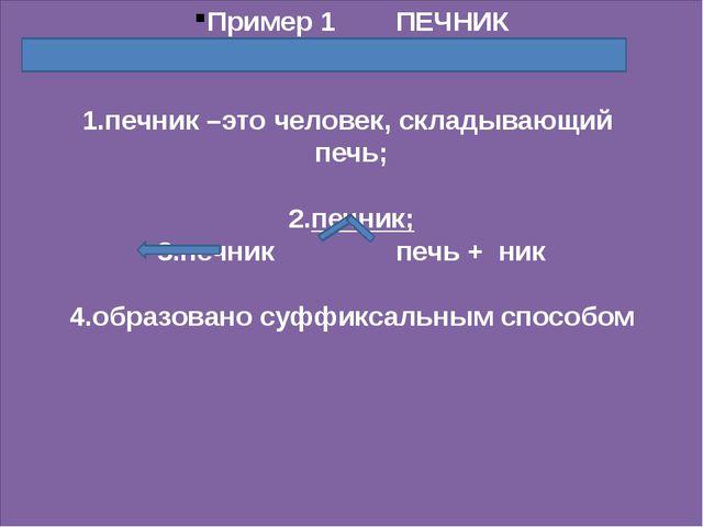 Пример 1 ПЕЧНИК 1.печник –это человек, складывающий печь; 2.печник; 3.печник...