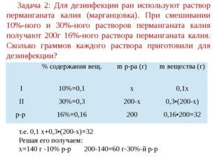 Задача 2: Для дезинфекции ран используют раствор перманганата калия (марганцо