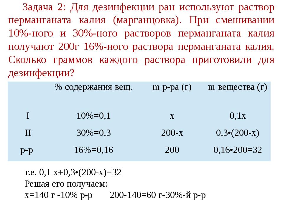 Задача 2: Для дезинфекции ран используют раствор перманганата калия (марганцо...