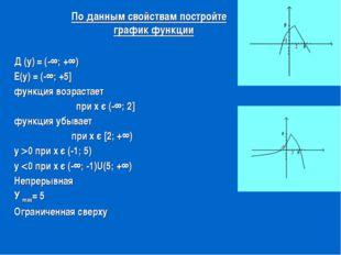 Д (у) = (-∞; +∞) Е(у) = (-∞; +5] функция возрастает при х є (-∞; 2] функция у