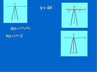 у = -2х2 Д(у) = (-∞;+∞) Е(у) = (-∞; 0]