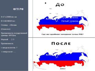 ФГП РФ S=17,125000.кв. км Н=146338020 чел Столица -  г.Москва   (11млн.че