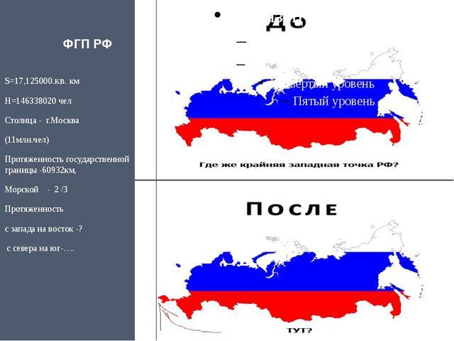 ФГП РФ S=17,125000.кв. км Н=146338020 чел Столица -  г.Москва   (11млн.че...
